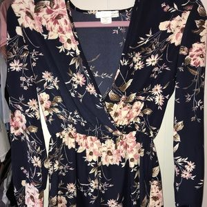 Navy and floral romper